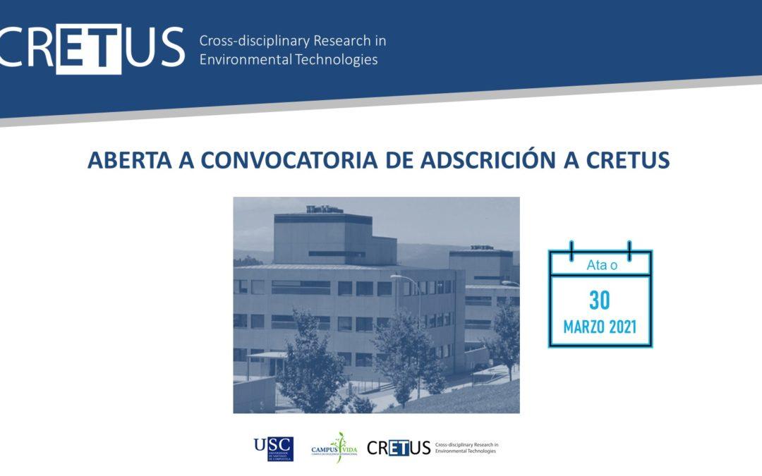 Aberta a Convocatoria para a adscrición de novos IPs ao Centro de Investigación Interdisciplinar en Tecnoloxías Ambientais (CRETUS)
