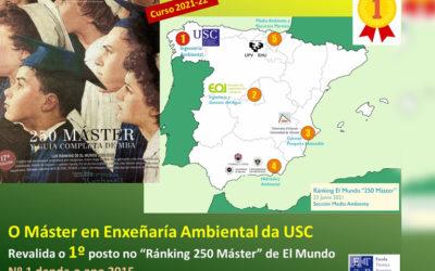 El Máster en Ingeniería Ambiental de la USC revalida por sexta vez la 1ª posición del Ránking de Másteres de El Mundo